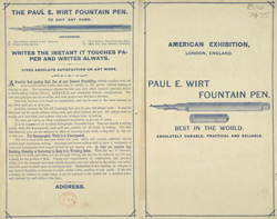 Advert for the Paul E Wirt Fountain Pen